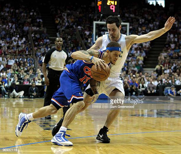 Delonte West of the Cleveland Cavaliers drives against JJ Redick of the Orlando Magic at Amway Arena on February 21 2010 in Orlando Florida NOTE TO...