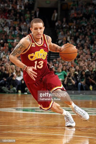 Delonte West of the Cleveland Cavaliers drives the ball up court against the Boston Celtics in Game Four of the Eastern Conference Semifinals during...