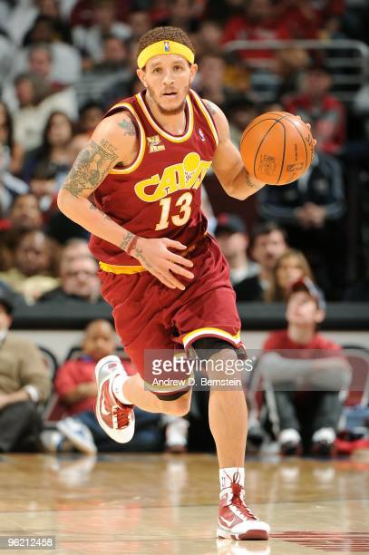Delonte West of the Cleveland Cavaliers drives the ball up court during the game against the Los Angeles Lakers on January 21, 2010 at Quicken Loans...
