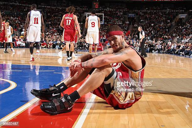 Delonte West of the Cleveland Cavaliers sits on the court during the game against the Philadelphia 76ers on December 16 2009 at Wachovia Center in...
