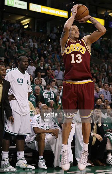 Delonte West of the Cleveland Cavaliers takes a shot in the second half against the Boston Celtics during Game Four of the Eastern Conference...