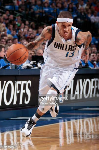 Delonte West of the Dallas Mavericks controls the ball against the Oklahoma City Thunder in Game Three of the Western Conference Quarterfinals during...