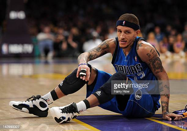 Delonte West of the Dallas Mavericks gets up from the floor during a 112108 Los Angeles Lakers win at Staples Center on April 15 2012 in Los Angeles...