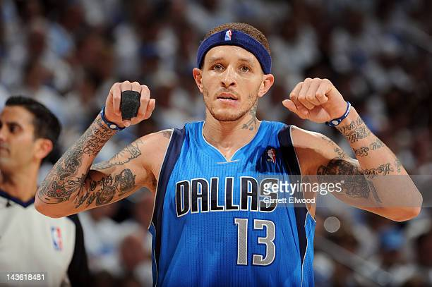 Delonte West of the Dallas Mavericks reacts during the game against the Oklahoma City Thunder in Game Two of the Western Conference Quarterfinals...