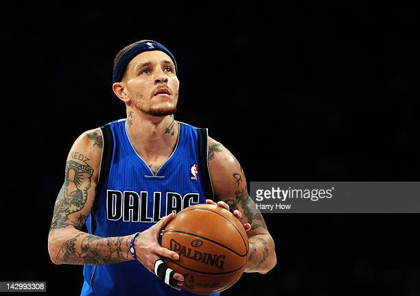 Delonte West of the Dallas Mavericks shoots a free throw during a 112108 loss to the Los Angeles Lakers at Staples Center on April 15 2012 in Los...