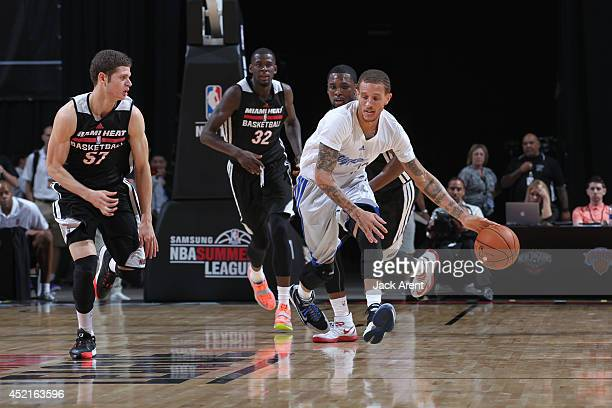 Delonte West of the Los Angeles Clippers drives against the Miami Heat at the Samsung NBA Summer League 2014 on July 14 2014 at the Thomas Mack...