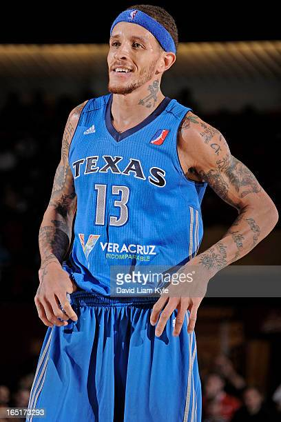 Delonte West of the Texas Legends smiles during a break in the action against the Canton Charge at the Canton Memorial Civic Center on March 30 2013...