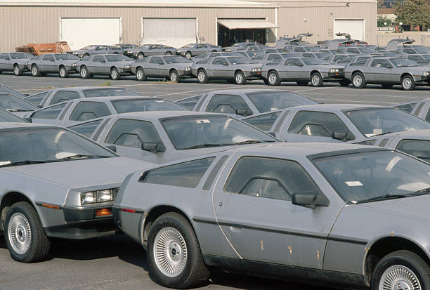 DeLoreans Parked in Lot at Sales Office