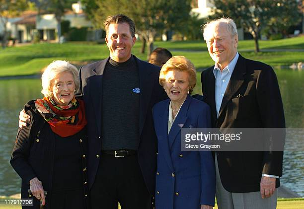 Delores Hope Phil Mickelson Betty Ford and Former President Gerald Ford pose together on the 18th green during the final round of the 45th Annual Bob...