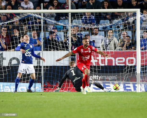 Delort Andy 11; Goal, During the French L1 football match between Strasbourg and Montpellier, on April 20, 2019 at the Meinau stadium in Strasbourg,...