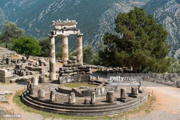 delphi, the circular temple of tholos - naxos stockfoto's en -beelden