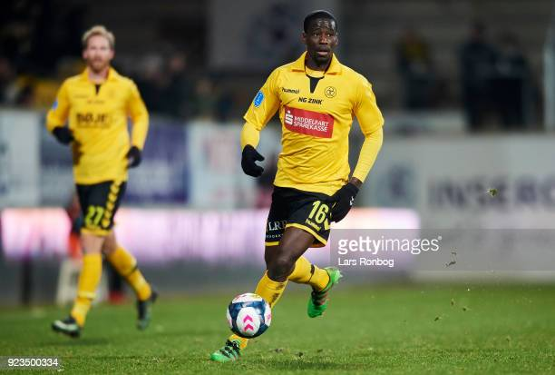 Delphin Tshiembe of AC Horsens controls the ball during the Danish Alka Superliga match between AC Horsens and Randers FC at CASA Arena Horsens on...