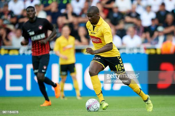 Delphin Tshiembe of AC Horsens in action during the Danish Alka Superliga match between FC Midtjylland and AC Horsens at MCH Arena on May 21 2018 in...