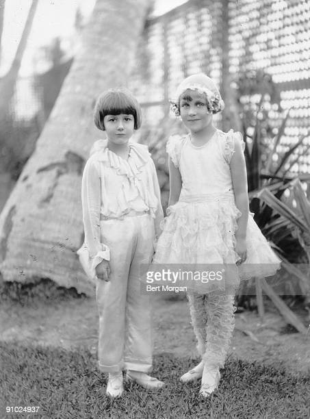 Delphine and Christine Dodge children of auto maker Horace Dodge at Brenda Frazier's 10th birthday party in Palm Beach Florida 1931