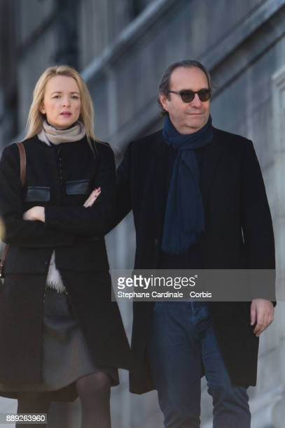 Delphine Arnault and Xavier Niel arrive at Johnny Hallyday's Funeral at Eglise De La Madeleine on December 9 2017 in Paris France France pays tribute...