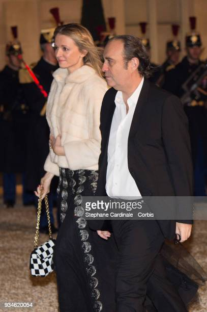Delphine Arnault and Xavier Niel attend a State dinner at the Elysee Palace on March 19 2018 in Paris France The Duke and Duchess of Luxembourg are...