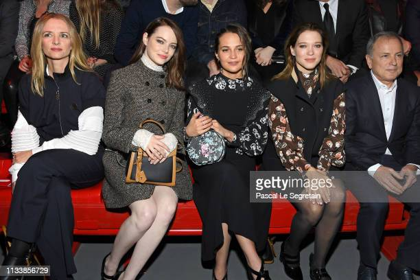 Delphine Arnault Emma Stone Alicia Vikander and Lea Seydoux attends the Louis Vuitton show as part of the Paris Fashion Week Womenswear Fall/Winter...