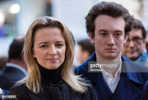Delphine Arnault executive vice president of LVMH Moet Hennessy Louis Vuitton SE left and Frederic Arnault head of connected technologies at Tag...