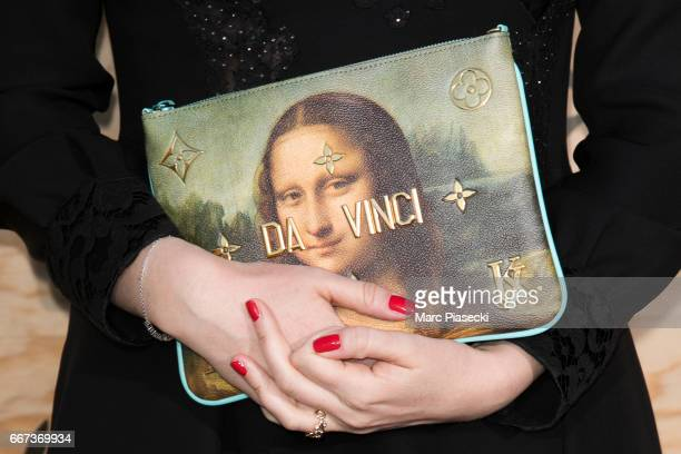 Delphine Arnault handbag detail attends the 'Louis Vuitton Masters a collaboration with Jeff Koons' dinner at Musee du Louvre on April 11 2017 in...