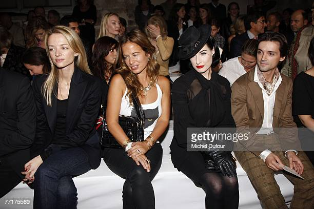 Delphine Arnault Jade Jagger Dita von Teese and Angel Corella attends the Loewe fashion show during the Spring/Summer 2008 readytowear collection...