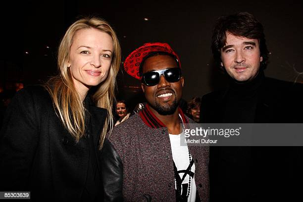 Delphine Arnault Kanye West and Antoine Arnault attend the Givenchy ReadytoWear A/W 2009 fashion show during Paris Fashion Week at Carreau du Temple...
