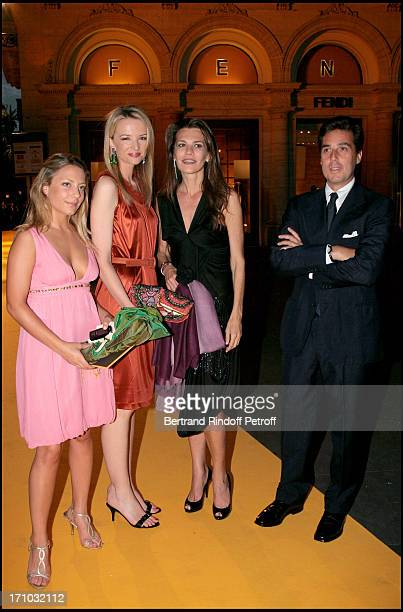 Delphine Arnault with Carla Maria Orsi Carbone and Maria Sole Torlonia and Prince Fabio Borghese Dinner at the Fendi Palazzo in Rome for the launch...