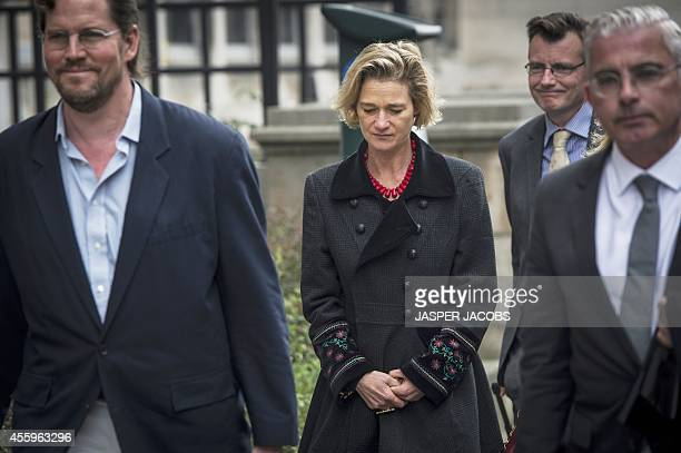 Delphine Boel arrives at the Brussels Trial Court of First Instance on September 23 2014 in Brussels for the pleadings to contest the paternity of...