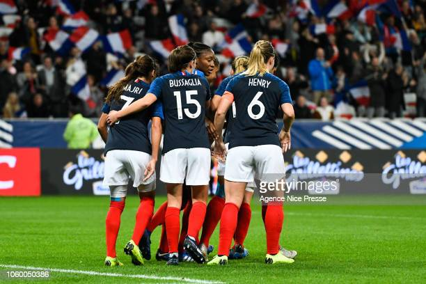 Delphine Cascarino celebrates his goal with teammates of France during the International Women match between France and Brazil at Allianz Riviera...