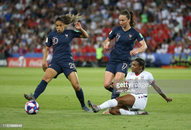 Delphine Cascarino Gaetane Thiney of France Crystal Dunn of USA during the 2019 FIFA Women's World Cup France Quarter Final match between France and...
