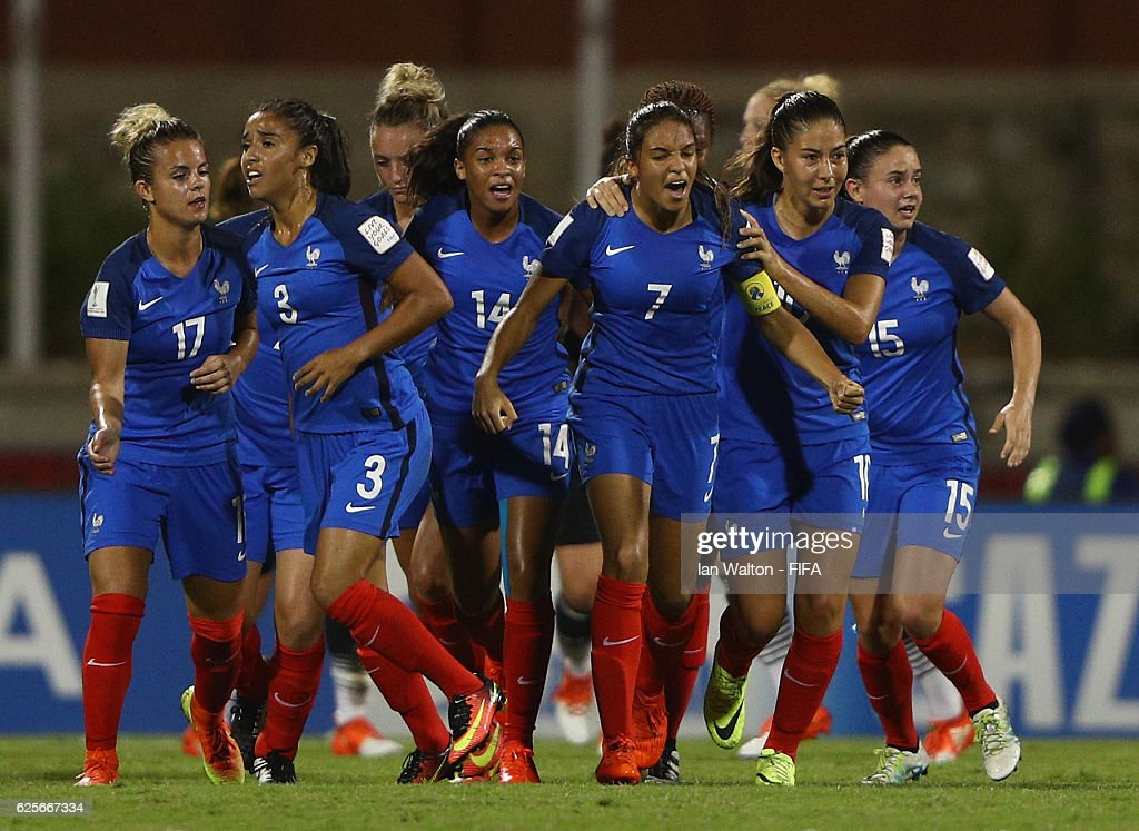 Delphine Cascarino of France celebrates scoring a goal during the FIFA U-20 Women's World Cup, Quarter Final match between Germany and France at Sir John Guise Stadium on November 25, 2016 in Port Moresby, Papua New Guinea.