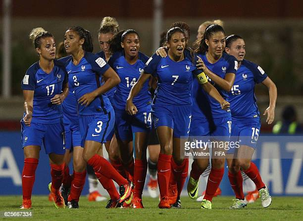 Delphine Cascarino of France celebrates scoring a goal during the FIFA U20 Women's World Cup Quarter Final match between Germany and France at Sir...