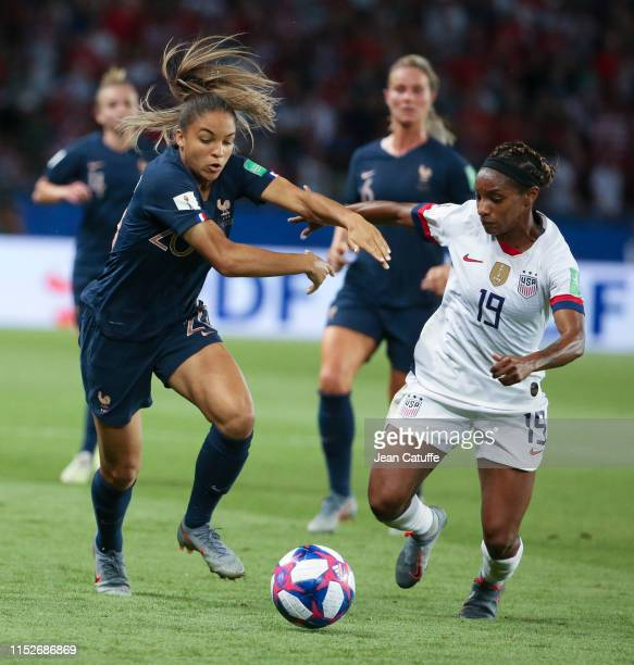 Delphine Cascarino of France Crystal Dunn of USA during the 2019 FIFA Women's World Cup France Quarter Final match between France and USA at Parc des...