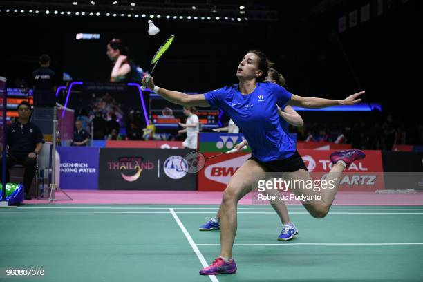 Delphine Delrue and Lea Palermo of France compete against Huang Yaqiong and Tang Jinhua of China during Preliminary Round on day two of the BWF...