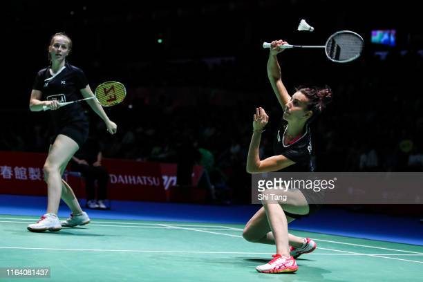 Delphine Delrue and Lea Palermo of France compete in the Women's Doubles second round match against Yuki Fukushima and Sayaka Hirota of Japan during...