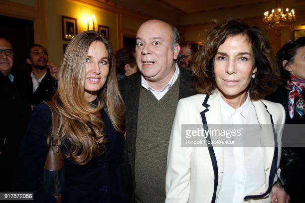 Delphine Marang Alexandre Academician Marc Lambron and Writer Christine Orban attend Quelque Part dans cette Vie Generale at Theatre Edouard VII on...