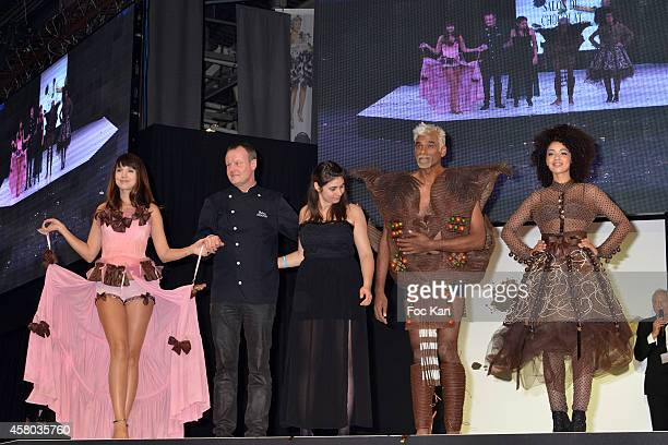 Delphine McCarty chef stylist Satya Oblette and Aurelie Konate attend the 'Salon Du Chocolat Chocolate Fair 20th Anniversary' At the Parc des...