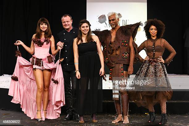 Delphine McCarty chocolate maker Patrice Chapon Lea Larcheveque Satya Oblette and Aurelie Konate walk the runway during the Fashion Chocolate show at...