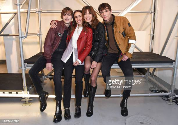 Delphine Ninous Belstaff Creative Director poses with models Lennon Gallagher Lorelle Rayner and Julien Sabaud at the Belstaff presentation during...