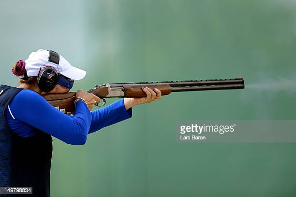 Delphine Reau of France competes during the Women's Trap Shooting Finals on Day 8 of the London 2012 Olympic Game at the Royal Artillery Barracks on...