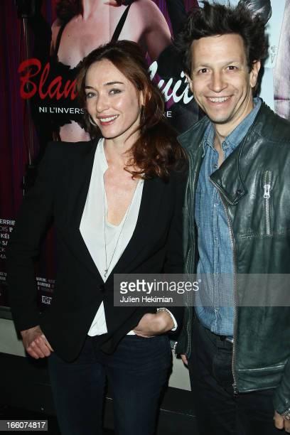Delphine Rollin and Fabrice Abraham attend the Blanche Nuit Ni L'Inverse Ni Le Contraire Premiere at cinema Bastille on April 8 2013 in Paris France