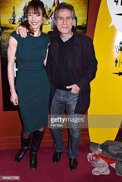 Delphine Rollin and Laurent OlmedoÊ attend the 'House of Time' Paris Premiere at cinema Pathe Wepler on January 11 2016 in Paris France