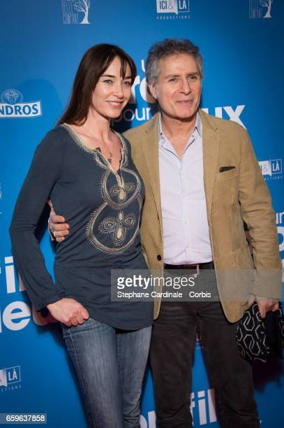 Delphine Rollin and Laurent Olmedo attend the 'Un Profil Pour Deux' Premiere at Cinema UGC Normandie on March 27 2017 in Paris France