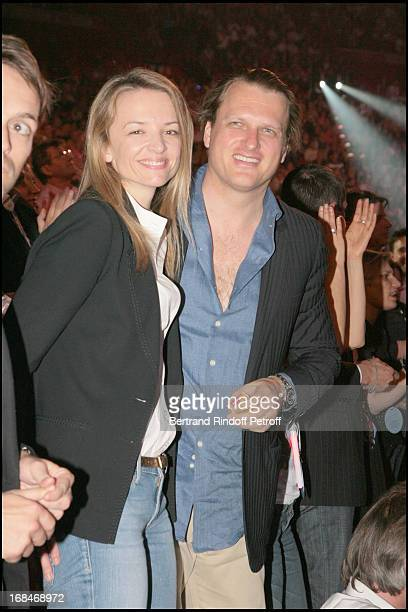Delphine Vallarino Gancia and husband Alessandro at The Celine Dion Concert At Bercy