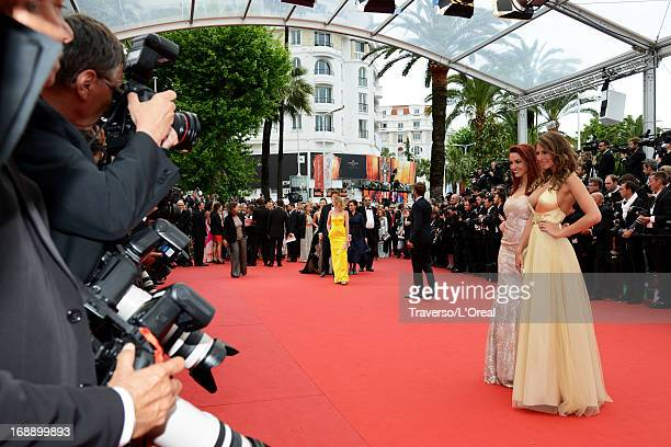 Delphine Wespiser and Laury Thilleman attends the 'Jeune Jolie' premiere during The 66th Annual Cannes Film Festival at the Palais des Festivals on...
