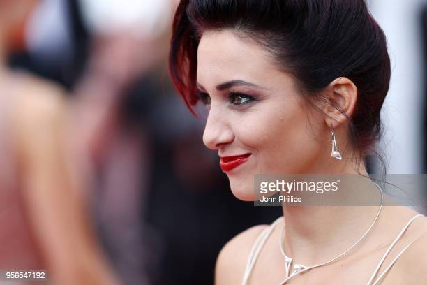 Delphine Wespiser attends the screening of Yomeddine during the 71st annual Cannes Film Festival at Palais des Festivals on May 9 2018 in Cannes...