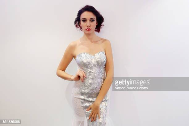 Delphine Wespiser poses prior the Christophe Guillarme show as part of the Paris Fashion Week Womenswear Spring/Summer 2018 on September 27 2017 in...