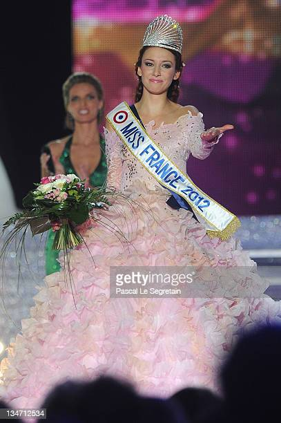 Delphine Wespiser reacts as she celebrates being crowned Miss France 2012 on stage on December 3 2011 in Brest France