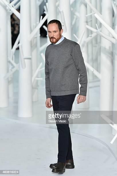 Delposo's creative director Josep Font walks the runway at Delpozo fashion show during Mercedes-Benz Fashion Week Fall 2015 at IAC Building on...