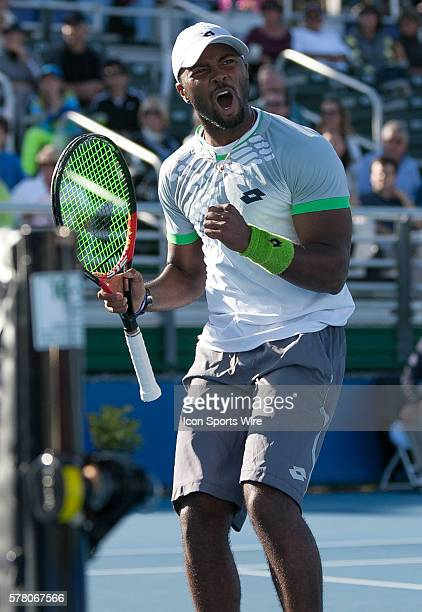 Donald Young celebrates his 46 64 62 victory over Bernard Tomic during the 2015 Delray Beach Open by The Venetian Las Vegas at the Delray Beach...