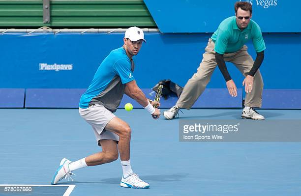 Delray Beach, FL - February 21 2015: Mike Bryan returns a shot as Bob Bryan / Mike Bryan defeat Eric Butorac / Rajeev Ram 46 63 104 at the 2015...